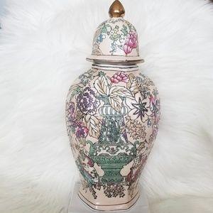 Vintage Ornate Floral Decorative Jar & Lid